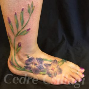 gladiolas botanical color tattoo