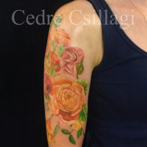 watercolor botanical color tattoo