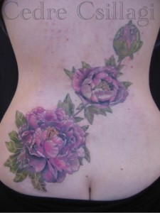 Peonies on lower back
