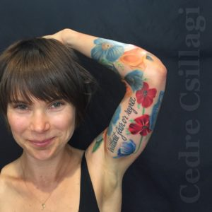 poppies, california, icelandic, sleeve, color tattoo